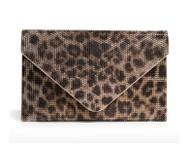 Judith Leiber Leopard-Print Crystal Envelope Clutch Bag