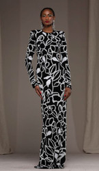 Naeem Khan Floral Embroidered Evening Gown