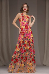 Naeem Khan Red/Multi Floral Lace Gown