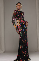 Naeem Khan Black/Multi Floral Embroidered Lace Gown
