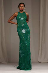 Naeem Khan Green Floral Embroidered Gown