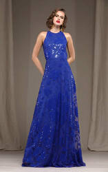 Naeem Khan Blue Floral Embroidered Gown