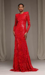 Naeem Khan Red Floral Embroidered Gown