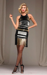 Naeem Khan Gold/Multi Beaded Fringe Dress