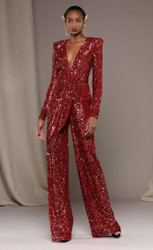 Naeem Khan Sequined Jumpsuit with Open Back