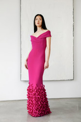 Catherine Regehr OFF Shoulder Roll Collar V-Neck Gown