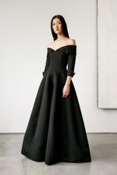 Catherine Regehr Off Shoulder Notch Collar Van Der Rohe Gown