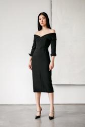 Catherine Regehr Off Shoulder Notch Collar Dress