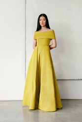 Catherine Regehr Off Shoulder Roll Collar Gown with Bias Pleat Skirt