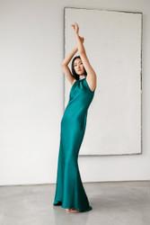 Catherine Regehr T-Neck Bias Sheath Gown with Crystal Neckline