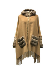 Violanti Wool Cape with Fringes and Nylon Down Details