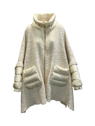 Violanti Wool Cape with Padded Nylon Details