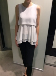 Georges Rech White Sleeveless Layered Blouse