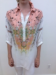 Roberto Cavalli White and Pink Floral Blouse