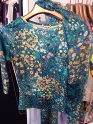 Pashma Teal Floral Pattern Blouse