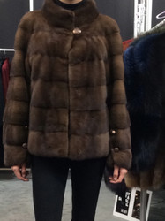 Gorski Brown Waist Length Fur Coat