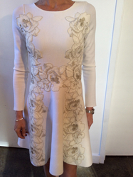 Blumarine White Floral Long Sleeve Dress