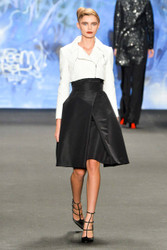 Naeem Khan Cropped Sequin Moto Jacket in Faille