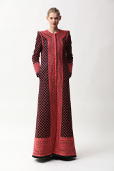 Naeem Khan Lattice Work Embroidered Floor-Length Coat