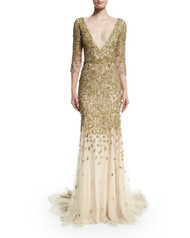 Marchesa 3/4-Sleeve Crystal-Embellished Gown