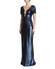 Marchesa Short Sleeve Embellished Gown