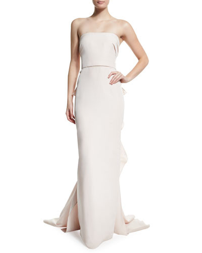 977738044c5db Marchesa Strapless Column Gown with Ruffled Back - Vivaldi Boutique
