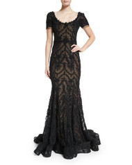 Marchesa Embroidered-Ribbon Lace Gown