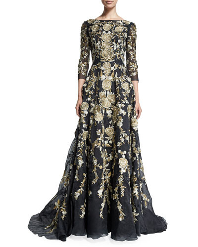 294b8d53625fb Marchesa 3 4-Sleeve Floral-Embroidered Ball Gown - Vivaldi Boutique