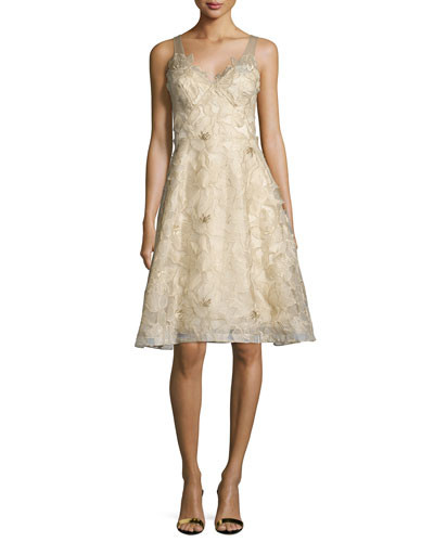 0def31eac48aa Marchesa Notte Sleeveless Floral Embroidered Dress - Vivaldi Boutique