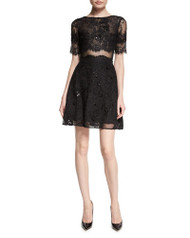 Marchesa Notte Short-Sleeve Flared Lace Cocktail Dress