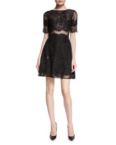 0092ed29903 Marchesa Notte Short-Sleeve Flared Lace Cocktail Dress - Vivaldi ...