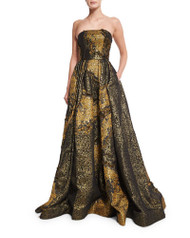 Christian Siriano Strapless Metallic Ball Gown