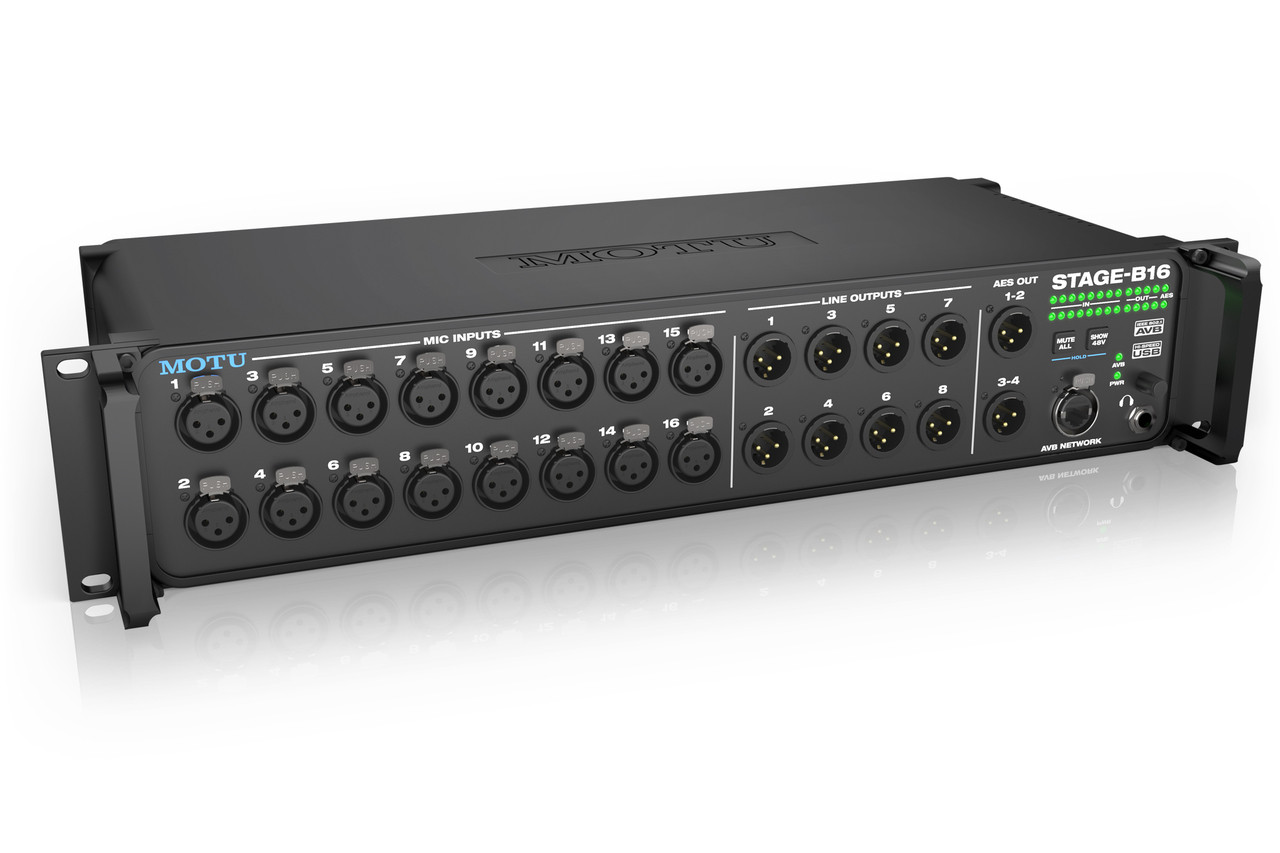 MOTU Stage-B16 USB2/AVB Ethernet audio interface with 16 mic pres, 8 output  and DSP