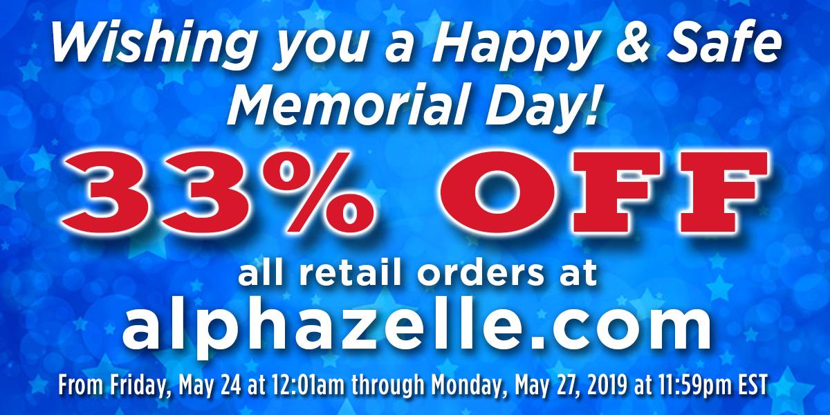 Memorial Day Sale at alphazzelle.com