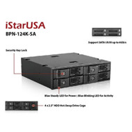 iStarUSA BPN-124K-SA Trayless 5.25-Inch to 4x2.5-Inch HDD SSD Hot-Swap Rack
