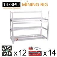 AAAwave Mining Case 14 GPU+FAN SCYTHE SY1225DB12H Stream 120DB 120mm Case Fan 1600 RPMTIC x 12 + PCI RISER X 14