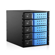 "iStarUSA BPN-DE350HD-BLUE 3x5.25"" to 5x3.5"" 12Gb/s Cage Blue"