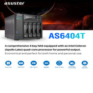 Asustor NAS AS6404T + 4T/8TB/12TB/16TB/24TB/40TB/40TB - PURPLE/56TB WD HDD