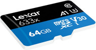 Lexar LSDMI64GBBNL633A 64GB High-Performance UHS-I Class 10 U3 633x microSDXC Memory Card with SD Adapter
