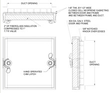 Acudor 20 x 20 Double Cam Removeable Duct Access Door - Acudor