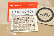 NOS Honda CT70 NC50 PA50 XL100 XL125 XL175 XL600 XL75 XR600 XR75 XR80 Z50 Air Cleaner Caution Label Decal Sticker 87508-120-000