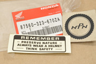 NOS Honda ATC90 CB350 CB450 CB750 CL175 CL450 CT70 CT90 SL125 SL350 SL70 XL70 XR75 Z50 Caution Label Decal Sticker 87560-323-670 ZA