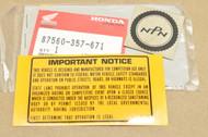 NOS Honda CR125 R CR125M CR250 R CR250M CR80 R Elsinore Caution Label Decal Sticker 87560-357-671