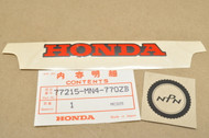 NOS Honda 1988 CBR600 F Hurricane Medium Gray Rear Seat Cowling Emblem Decal 77215-MN4-770 ZB