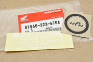NOS Honda ATC90 CB350 CB500 CB750 CL350  CT70 MT250 S90 SL350 ST90 TL125 TL250 XL250 XL350 Z50 Caution Label Decal Sticker 87560-323-670 A