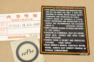 NOS Honda 1986 ATC250 ES Big Red Caution Label Decal Sticker 87504-HA0-680