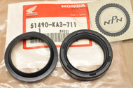 NOS Honda 1981-83 CR125 R 1984-85 XR250 R Front Fork Seal Set 51490-KA3-711