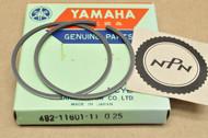 NOS Yamaha 1974-76 YZ80 0.25 Oversize Piston Ring Set for 1 Piston = 2 Rings 492-11601-11