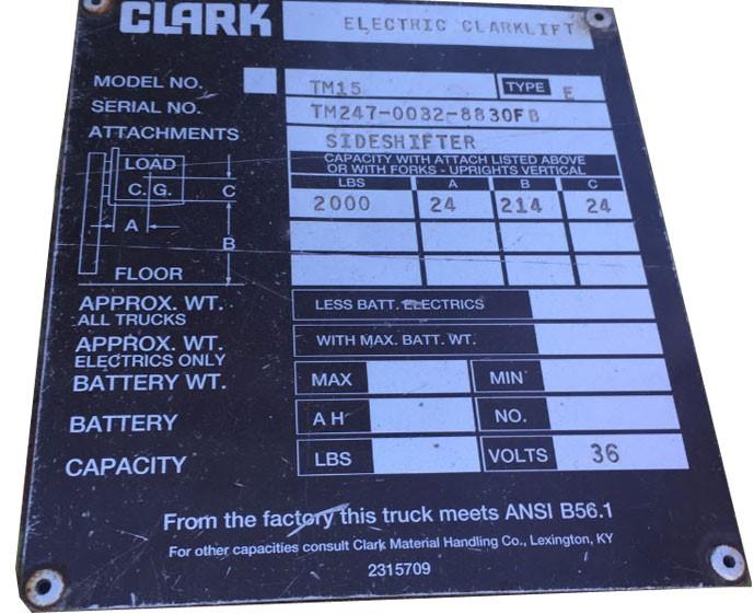Clark Forklift Nameplate