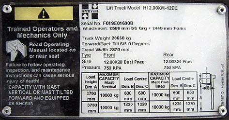 Hyster Forklift Nameplate